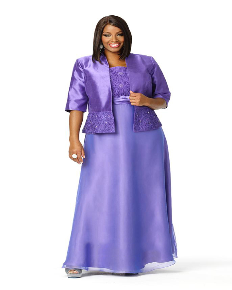 Elegant purple with jacket half sleeves stain ankle-length plus size mother of the bride dresses bridal party
