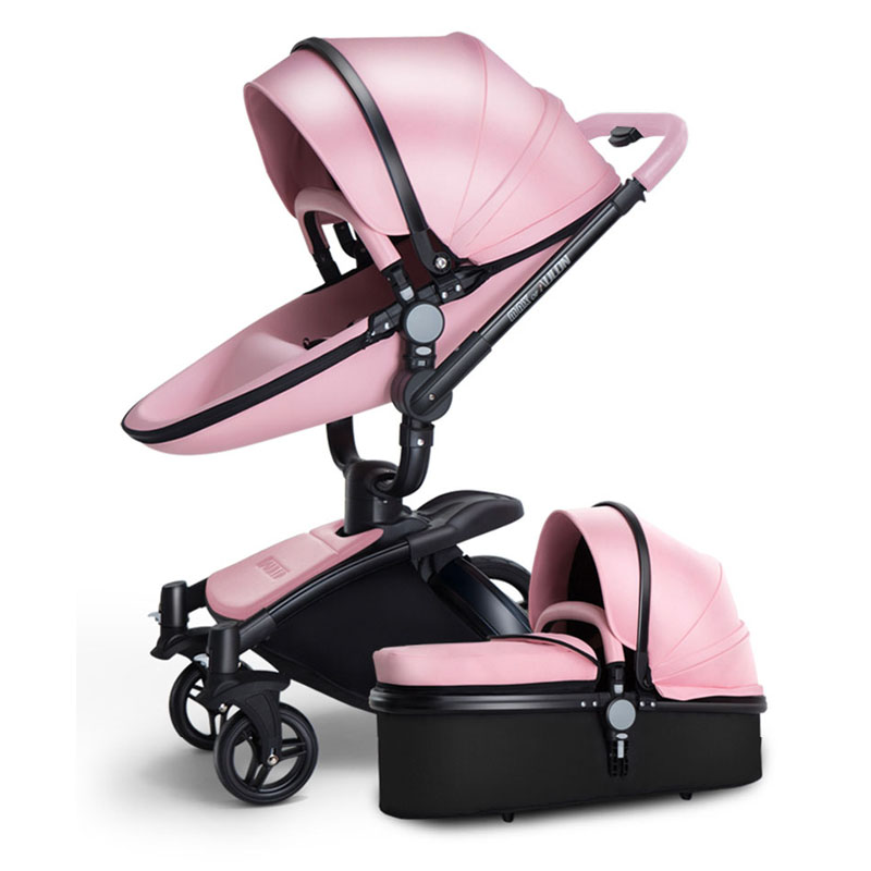 European Baby Strollers Sale Baby Brand Strollers Aulon Upgrade Version 2018 Leather Car Pink Color Black Frame New 2 In1 Pram 2018 baby strollers brand baby 2 in1 pram baby carriage many colors for choice