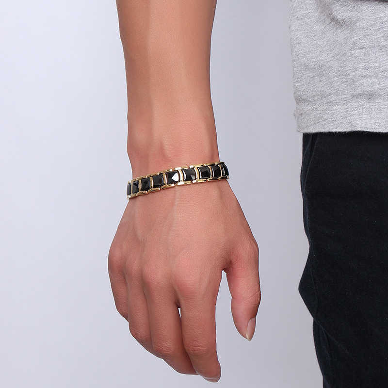 Vinterly Black Gold-color Bracelets Men Hand Chain Bio Magnetic Germanium Bracelet Men Trendy Health Ceramic Men Jewelry CM021