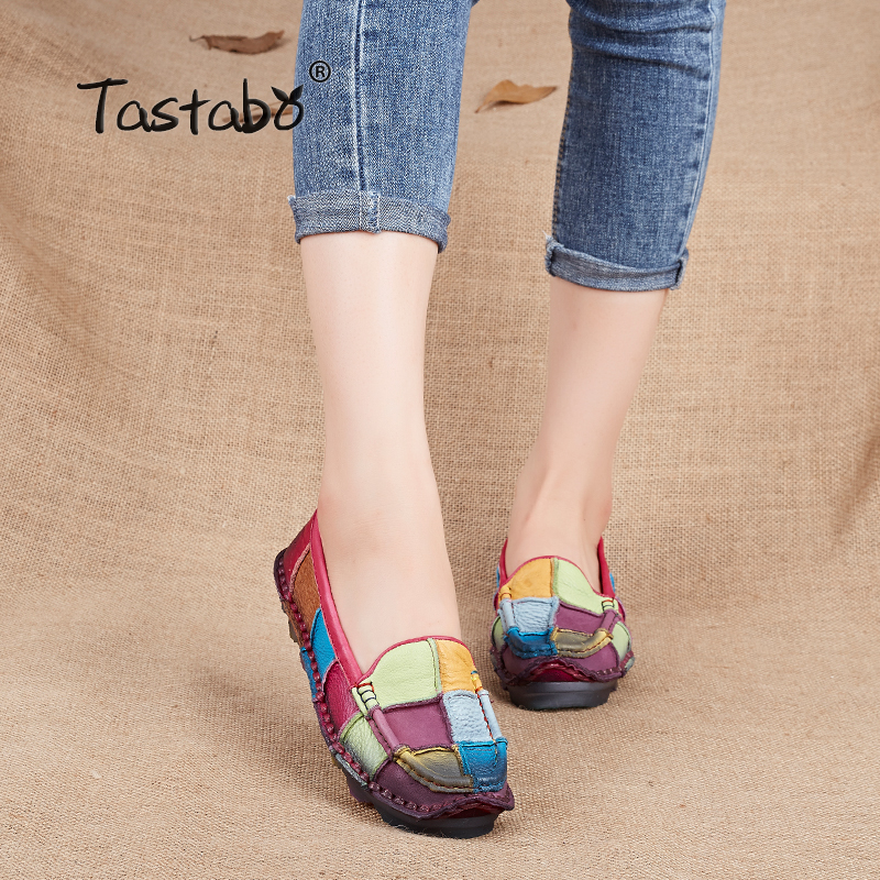 Tastabo шкіра осені вагітні жіночі туфлі жіночі мокасини жіночі втрати повсякденне взуття квартири плюс розмір взуття жінок  t