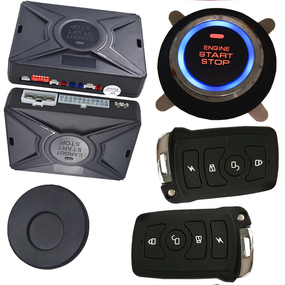 automotive auto central lock unlock keyless entry car alarm security system with push start stop engine button rfid immobilizer