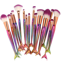 Professional 15PCS Multicolor Mermaid Rainbow Makeup Brushes Unicorn Foundation Tool