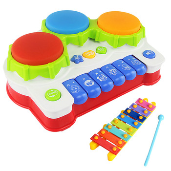 Baby Drums Piano Music Learning Toy Toddler Musical Keyboard with Mini Xylophone for Kids Early Educational Game Learning