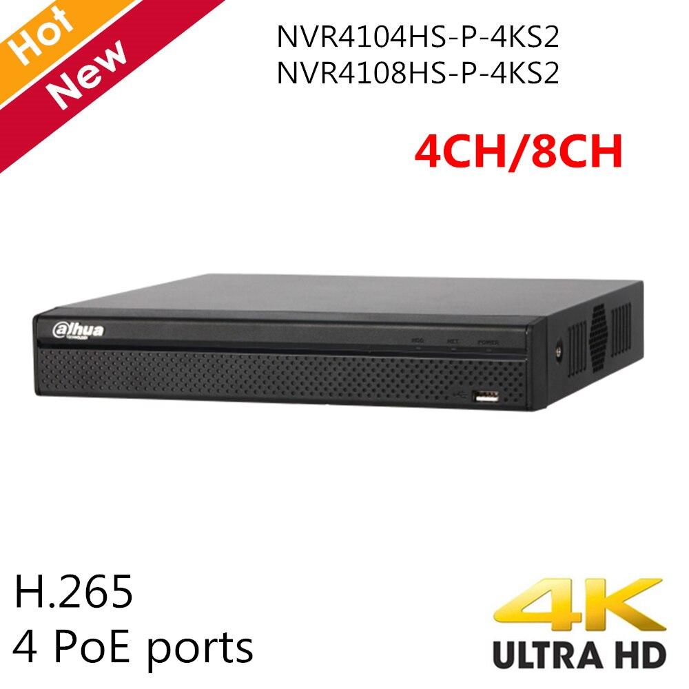 Original Dahua 4K 4 Ch NVR 8 Ch NVR NVR4104HS P 4KS2 NVR4108HS P 4KS2 4