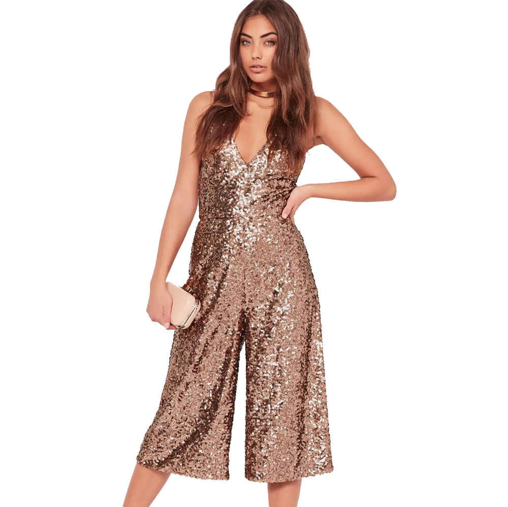 c4b8a4a77f3 Brown spaghetti strap sequined wide leg cropped jumpsuits for women stylish V  neck sexy palazzo jumsuits