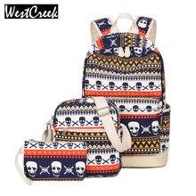 Бренд печати Для женщин геометрический рюкзак череп холст Bookbags комплект рюкзак Школьные сумки для подростков Обувь для девочек