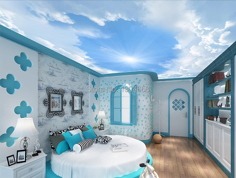 Papel de parede customization 3D large murals, children room living room bedroom ceiling wall wallpaper sky custom ceiling wallpaper blue sky and white clouds landscape murals for the living room bedroom ceiling wall papel de parede