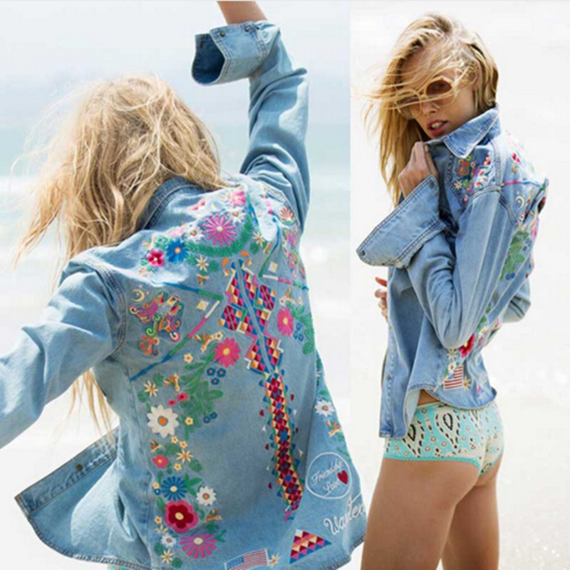Chaqueta de mezclilla de moda chaqueta de las mujeres tapas de la camisa de mang