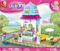 SLUBAN regalo giocattolo di plastica building block rosa sogno Gelato colorato modello di Casa