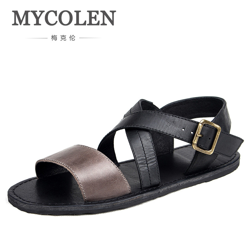 цена на MYCOLEN The New Listing Brand Genuine Leather Shoes Summer New Men Sandals Brand Designer Fashion Sandals Sandalias Hombre