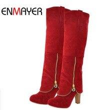 フロックファッション女性冬のブーツの靴新ロングブーツ女性のためのビッグサイズ雪ラウンドトゥスクエアヒールハイヒールブーツの靴 を ENMAYER