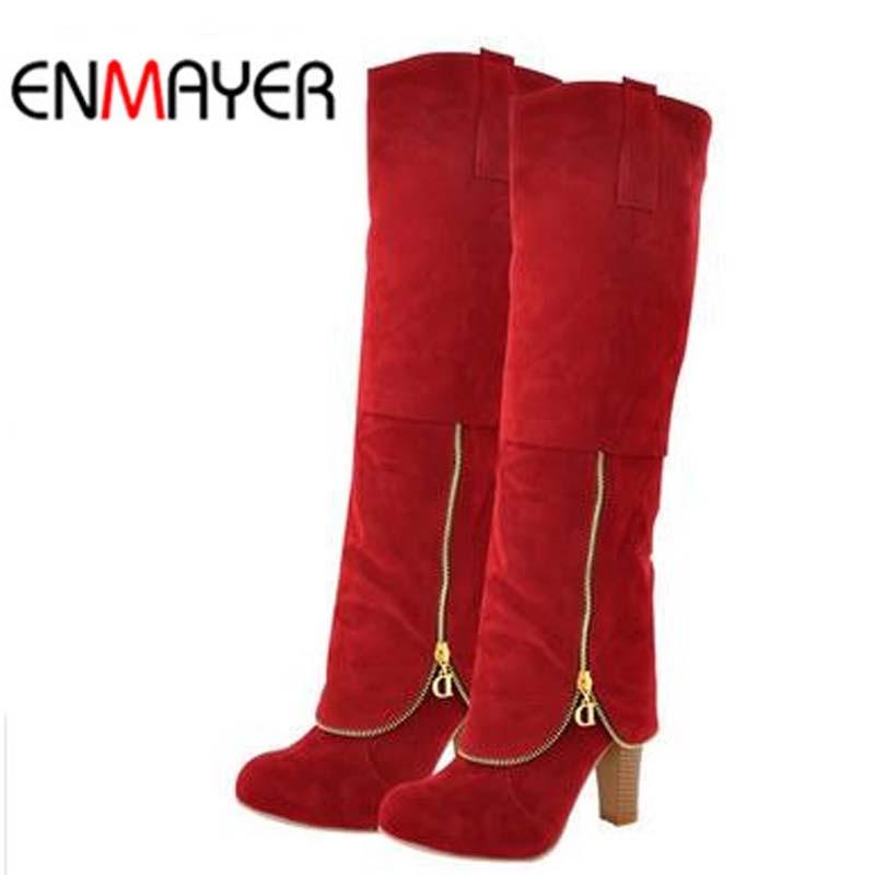 ENMAYER Flock 패션 여성 겨울 부츠 신발 여성을위한 새로운 롱 부츠 큰 사이즈 스노우 라운드 발가락 스퀘어 힐 하이 부츠 슈즈