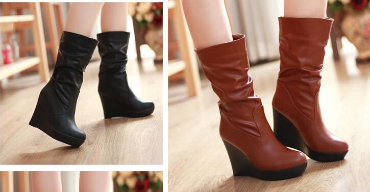 осень сапоги зима обувь женщина средняя икры сапоги чистые