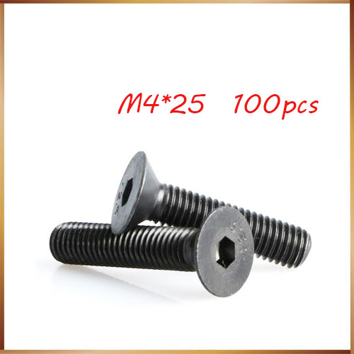 100pcs <font><b>M4x25</b></font> mm M4*25 mm flat head countersunk head black grade 10.9 Alloy Steel Hex Socket Head Cap Screw nails,bolts image