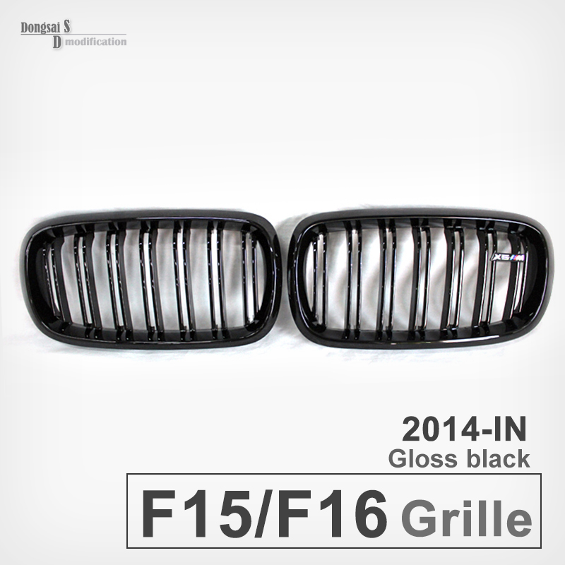 High quality X5 X6 f15 f16 ABS replacement front grille black bumper grille replacement For bmw F15 F16 35i 50i 2015 2016 high quality for toyota highlander 2015 2016 car cover bumper engine abs chrome trims front grid grill grille frame edge 1pcs