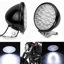QIPO 12 В черный Универсальный 5 «30 мотоцикл фар Кафе Racer передний свет хромированный черный мотоцикл фара головного света лампы