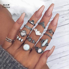 Tocona 12pcs/Set Vintage Antique Silver Color Turtle Heart Carved Opals Knuckle Midi Finger Rings for Women Party Jewelry 5870