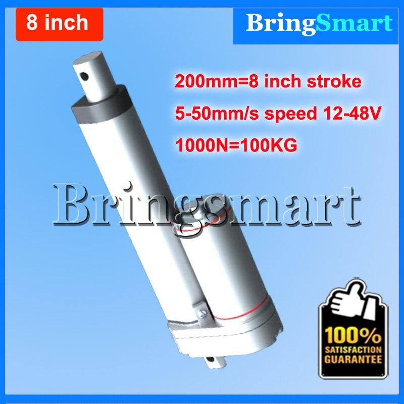 ФОТО Free shipping 8 inch 200mm Double tube Linear Actuator 12-48V Dc Motor 4-50mm/s 1000N Heavy Duty tubular motor 24v Waterproof