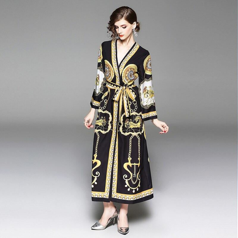 d1a7025c177 2018 Autumn Runway Dresses Long Sleeve Women Dress Shirt Black Gown Horses  Angels Chain Abstract Flower