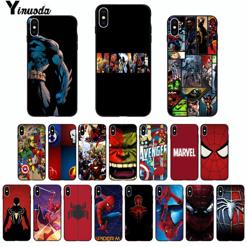 Yinuoda Marvel Spider-Man Spider Man Comics Logo TPU black Phone Case Cover for iPhone X XS MAX 6 6S 7 7plus 8 8Plus 5 5S XR чехлы марвел