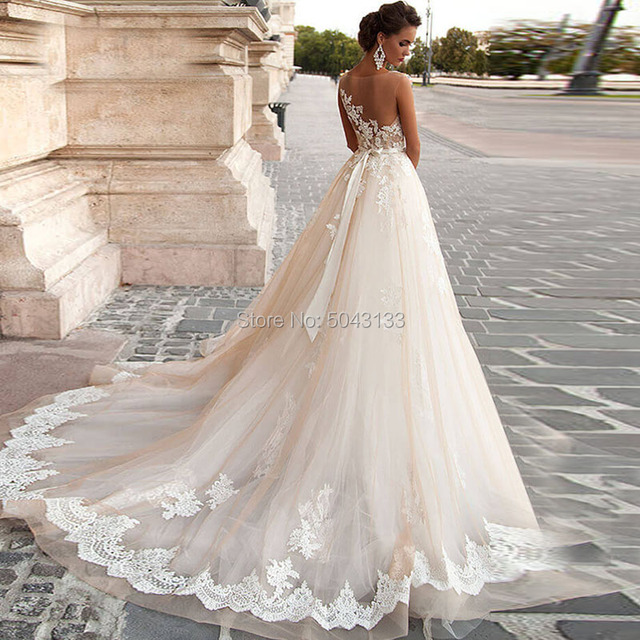 Transparent Scoop Champagne Wedding Dresses with Detachable Beading Sash Lace Applique Sleeveless Backless Bridal Gowns 2021 2