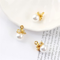 New Arrival 12 18mm Gold Tone Alloy Caps Decorated Round White Pearl Charm Pendant Fit Bracelet