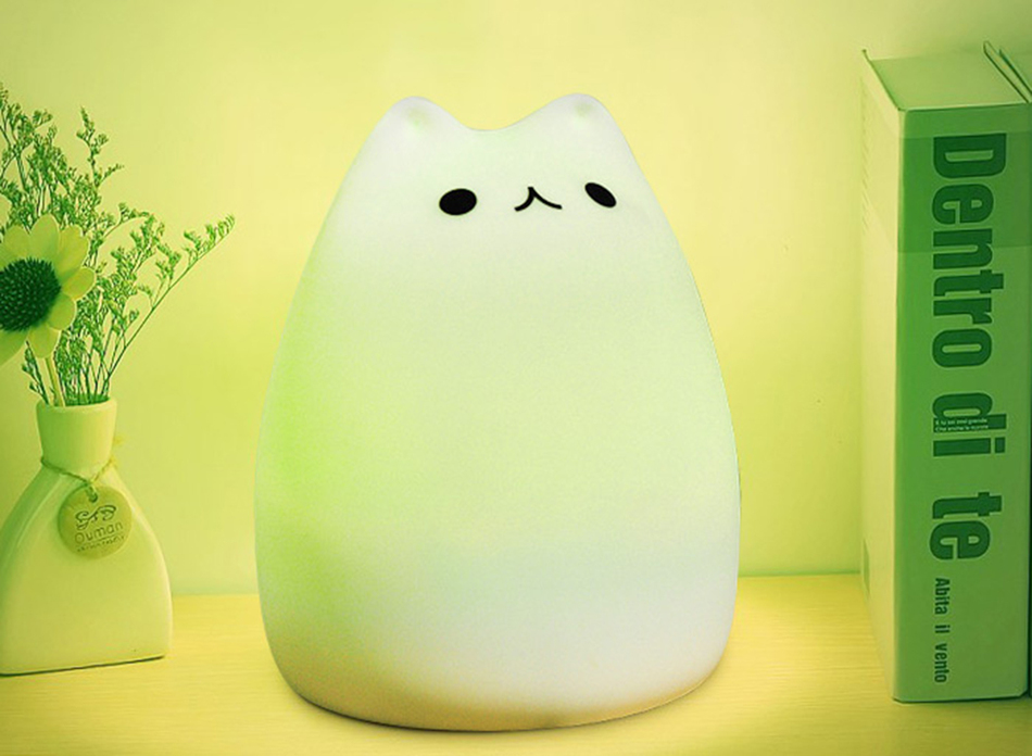 SuperNight Cute Cartoon Cat LED Night Light 7 Colors Silicone Rechargeable TapRemote Control Children Baby Bedside Table Lamp (21)