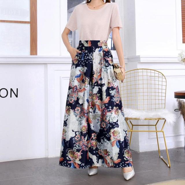 Plus size Maxi Skirt Summer Fashion Vintage High Street A-line High Waist Floral Polka Dot Long Skirts for Women 2020 Jupe Longa 21