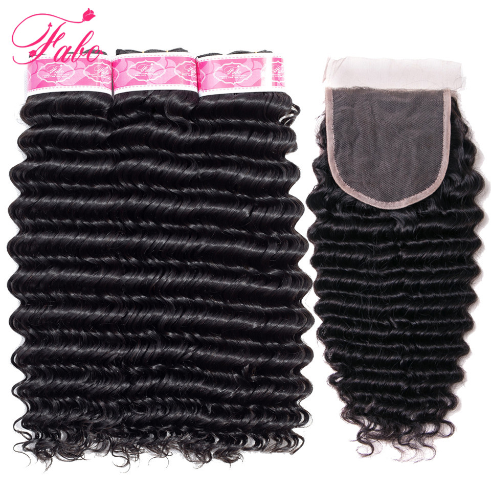 FABC Hair deep wave bundles with closure non remy peruvian hair bundles 4pcs lot natural black
