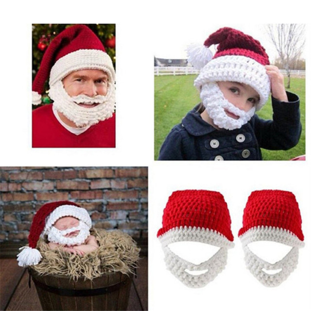 Creative Beard Handmade Hat Beanie For Adults And Kids Knitting Wool Funny Christmas  Hats Hand- 490748a7e9c