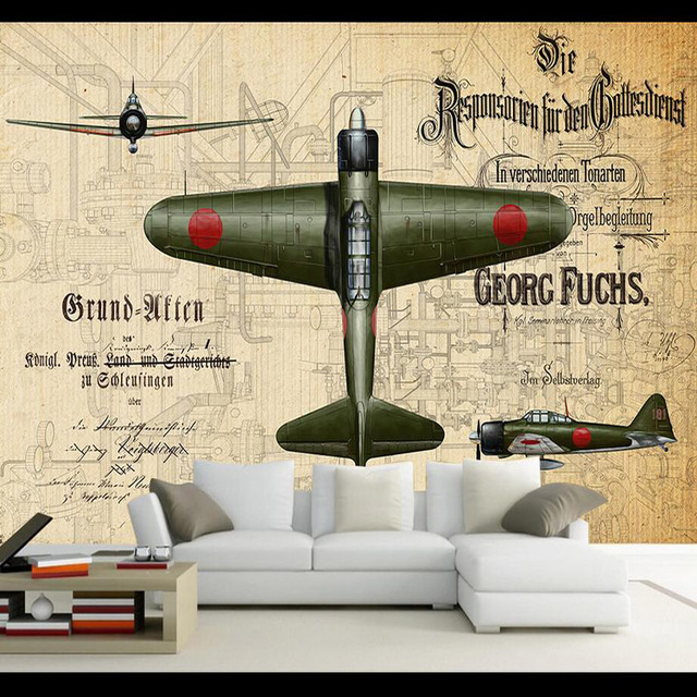 Benutzerdefinierte 3d Wandbild Wohnzimmer 3D Militär Retro Graffiti Tapete  Bar KTV Internet Caf és Bekleidungsgeschäft