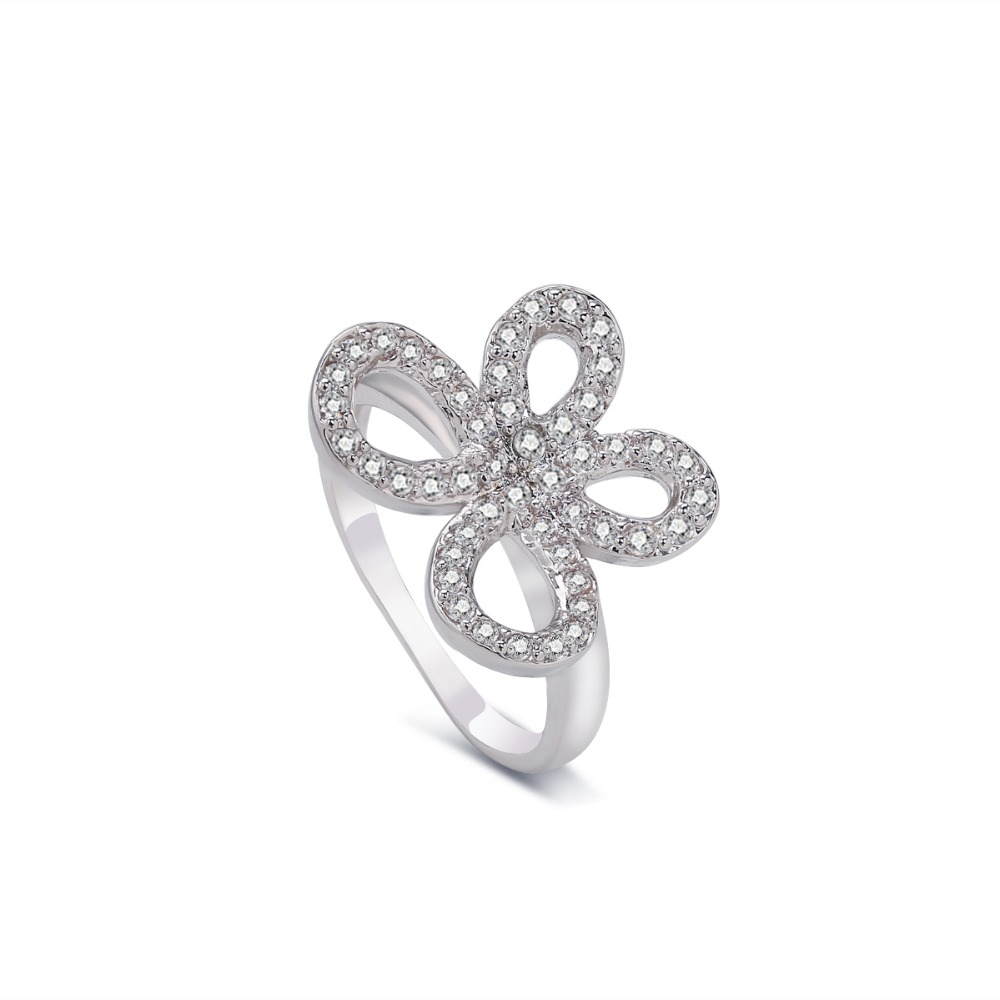 romantic white gold color butterfly cz stone finger ring for ladies material copper party anniversary gifts for women