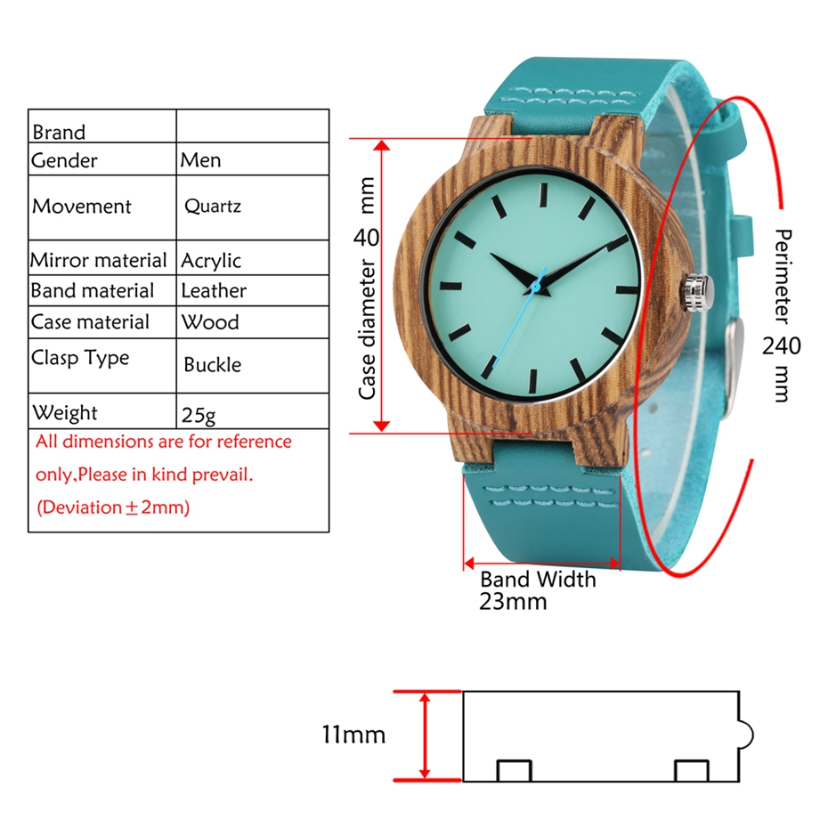 DIY Customized Logo Wood Watch Women Creative Engraved Retro Wooden with Blue Genuine Leather Souvenir Gifts for Girl Girlfriend 2019 2020 2022 (6)