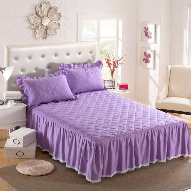 THICKEN winter quilted bed skirt 100% cotton Bed cover cotton pad - Home Textile - Photo 2