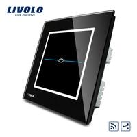 Free Shipping Livolo Black Pearl Crystal Glass Panel UK Standard VL R101SR SBC 2 Way Wireless