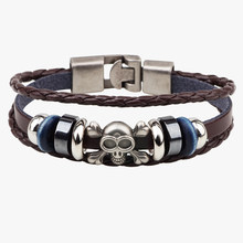 Hot Men's Braided Genuine Leather Skull Bracelets Rock Punk Skeleton Charms Cuff Bracelet Bangles lederen armband bracelet man(China)