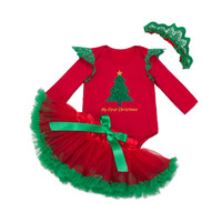 2016 Christmas Baby Girls Clothes Set Cotton long Sleeve Romper + Tutu Skirt +Headband Party Baby Dress Newborn Infant Outfit