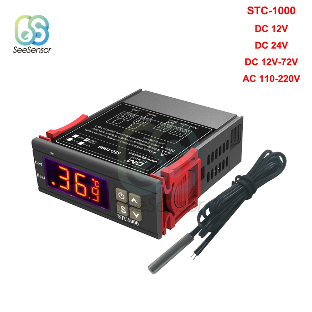 STC 1000 STC 1000 LED Digital Thermostat for Incubator Temperature Controller Thermoregulator Relay Heating Cooling 12V STC-1000 STC 1000 LED Digital Thermostat for Incubator Temperature Controller Thermoregulator Relay Heating Cooling 12V 24V 220V