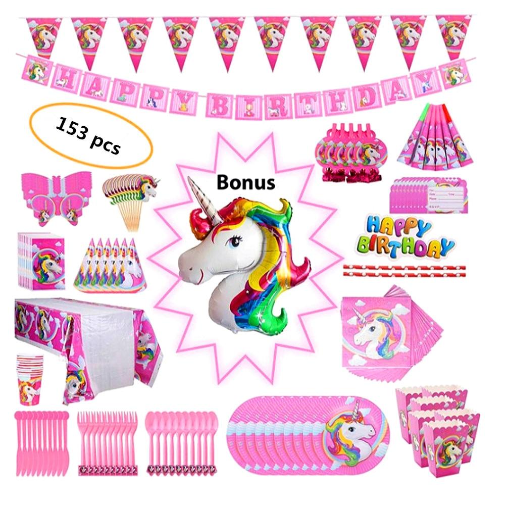 153 Stks 10 Persoon Eenhoorn Partij Decor Meisjes Gelukkige Verjaardag Kids Eenhoorn Servies Papier Servetten Plaat Tafelkleed Gelukkig Gift
