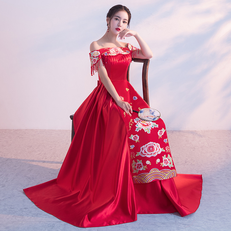 Red Vintage Cheongsam Wedding Chinese Dress Suzhou Embroidery Long Qipao Women Sexy Traditional Cheongsam Size S M L XL XXL