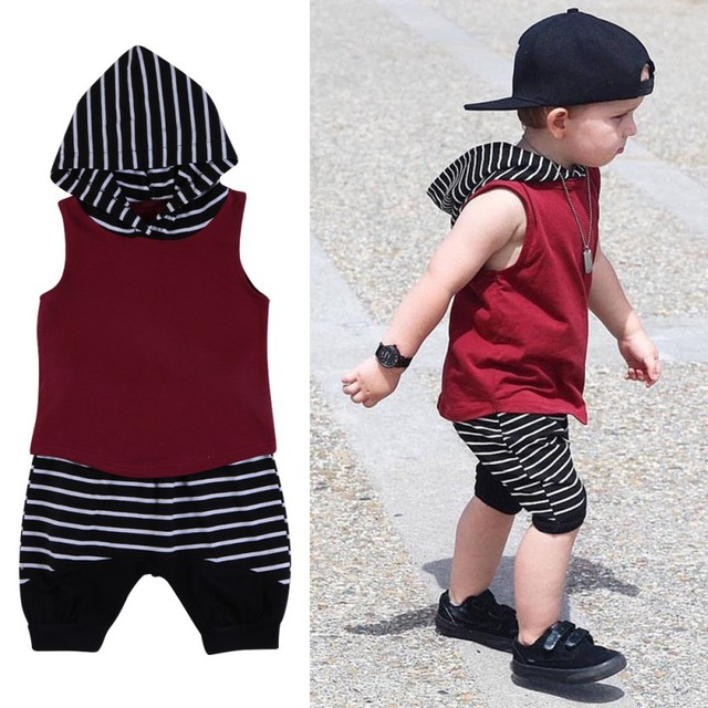 fc6b12df5764e2 Baby Boys Clothes Set Summer 2PC Striped Hooded Sleeveless Wine Red T-shirt  + black and White Striped short pants set