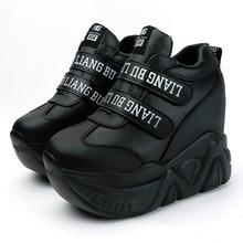 WGZNYN zapatillas de deporte con cuña Super Hihg para mujer, zapatos informales de plataforma cómodos con cierre de velcro, para primavera y otoño, 12 Cm, W05