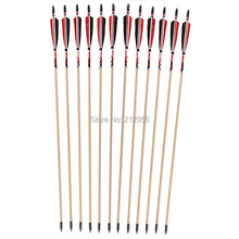 Longbowmaker 12PK Red And Black Printing Turkey Feathers Cedar Wood Target Practice Arrows WYT7