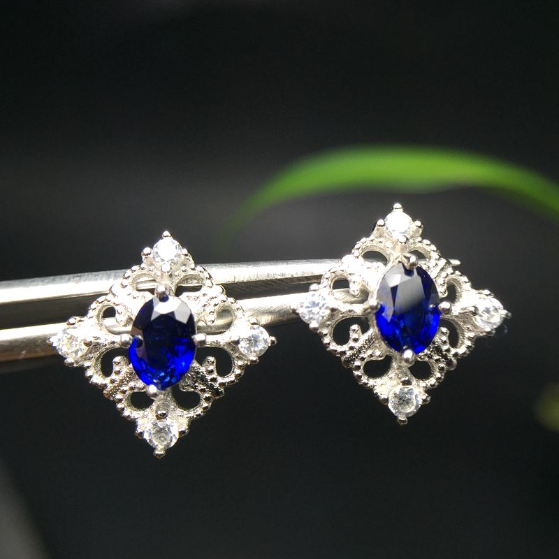 Almei Natural Sapphire Square Earrings for Women, 925 Sterling Silver, 4*6mm*2 Pcs Gemstone Wedding Engagement Jewelry FR119