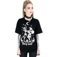 Ins Demon Gothic Dark T shirt Women Black Print Loose Tees Streetwear Punk Summer 2019 Female Vintage Casual Plus Size Tops