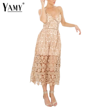 Summer 2017 Floral Lace Dress women Sexy V neck Cami Sleeveless beach maxi dresses vestidos Casual hollow out white party Dress