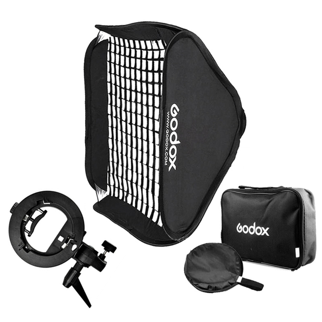 "Godox 50*50cm / 40*40cm S Type Bracket Flash Honeycomb Grid Softbox Bowens Mount Speedlite Adapter 16"" / 20""  Soft Box Kit"