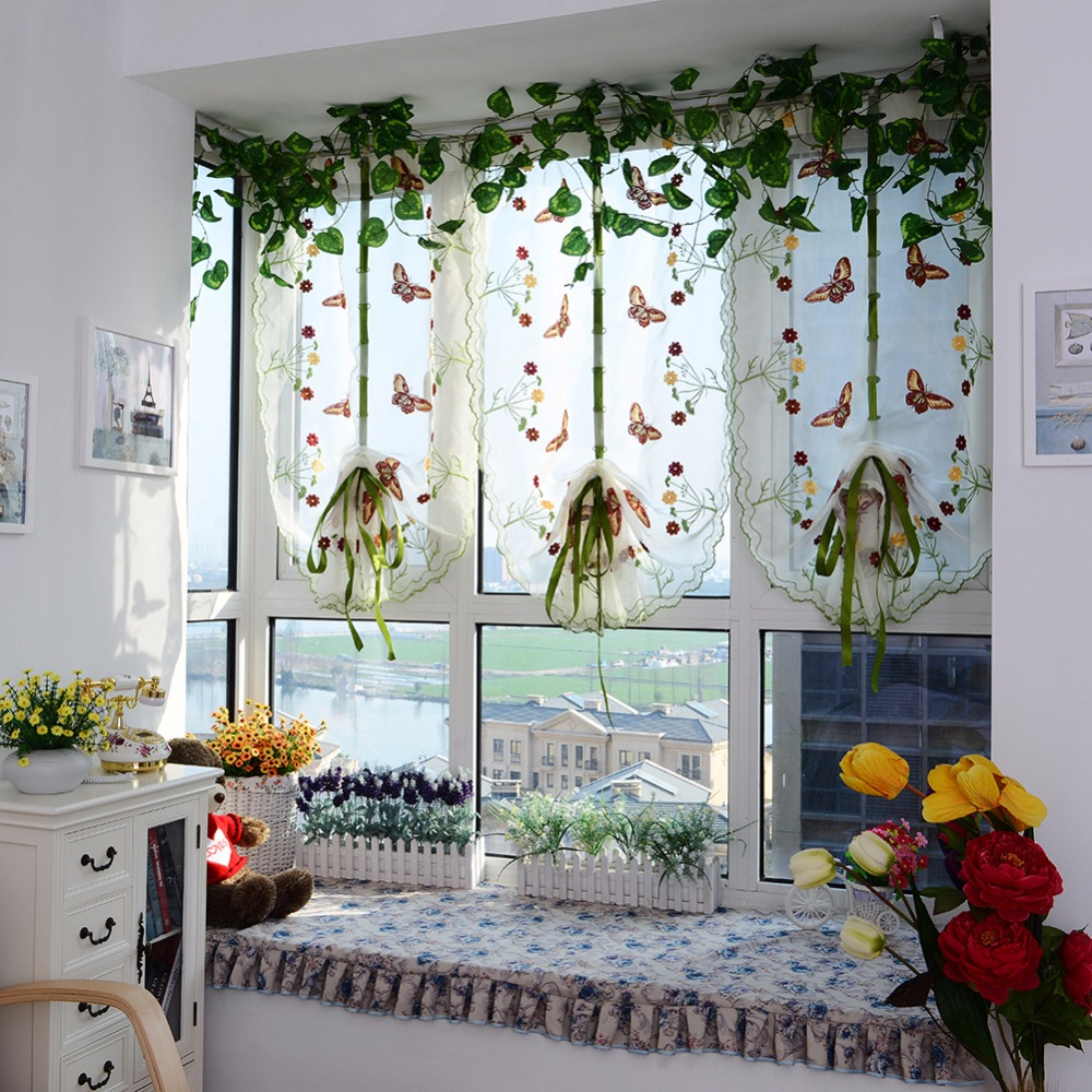 Ho how to tie balloon curtains - Window Floral Embroidered Country Style Balloon Curtain Fan Shaped Curtain Lifting Curtain 236271