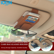 LOEN Auto Car Visor Organizer Genuine Leather Sun Visor Storage Pouch Bag Card Cell Phone Pen Sunglasses Holder For Audi Toyota