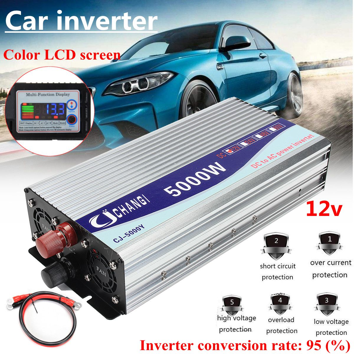 Onduleur 12 V/24 V/48 V 220V 5000W 10000W pics onduleur à onde sinusoïdale modifiée transformateur de tension convertisseur + écran LCD - 3